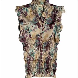 Agora Womens Floral Shirred Waist Top Size S
